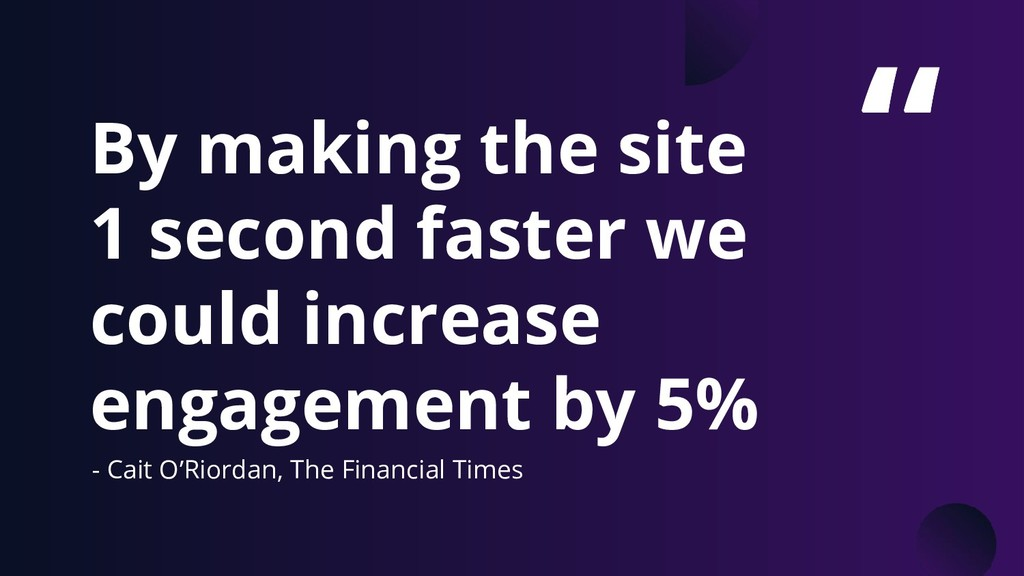 """"""" By making the site 1 second faster we could i..."""