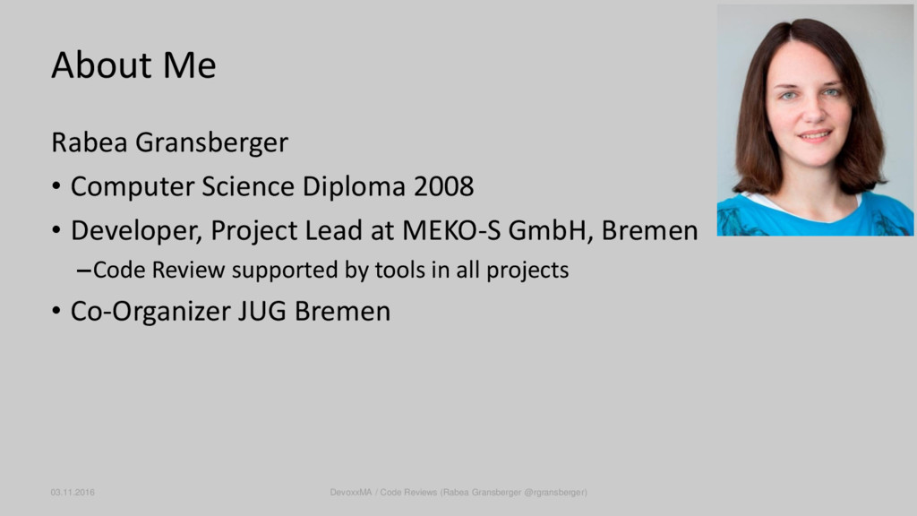 About Me Rabea Gransberger • Computer Science D...