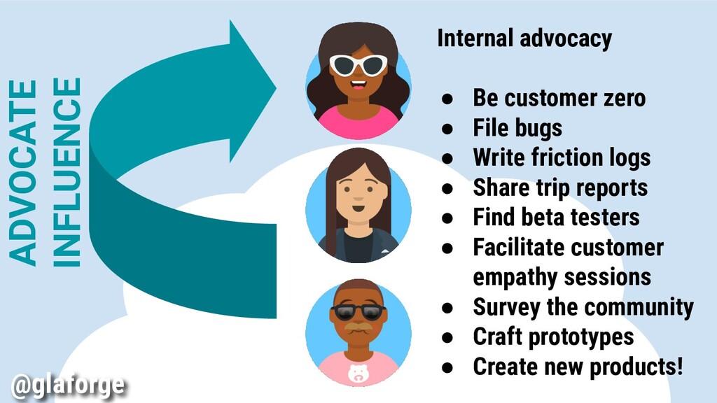 Internal advocacy ● Be customer zero ● File bug...