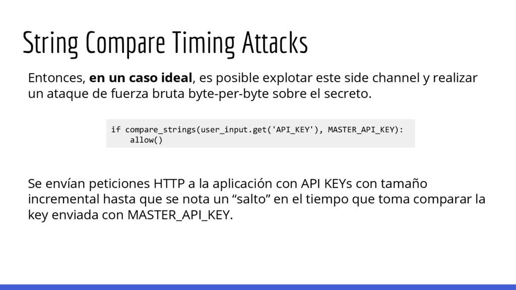 String Compare Timing Attacks Entonces, en un c...