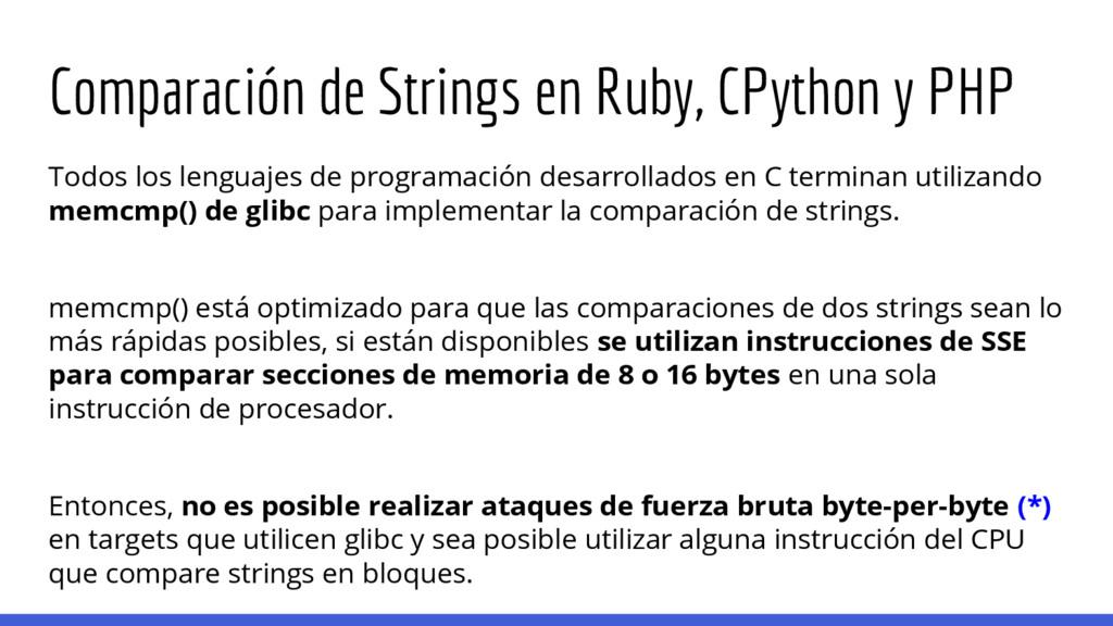 Comparación de Strings en Ruby, CPython y PHP T...