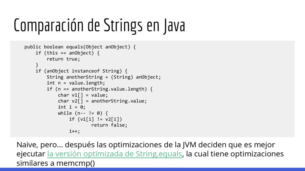 Comparación de Strings en Java public boolean e...