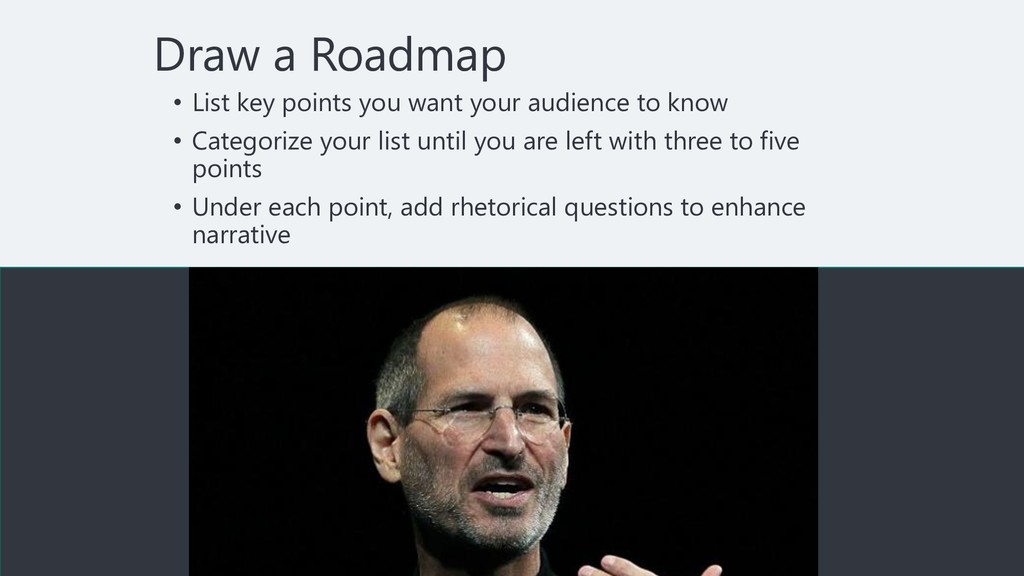 Draw a Roadmap • List key points you want your ...