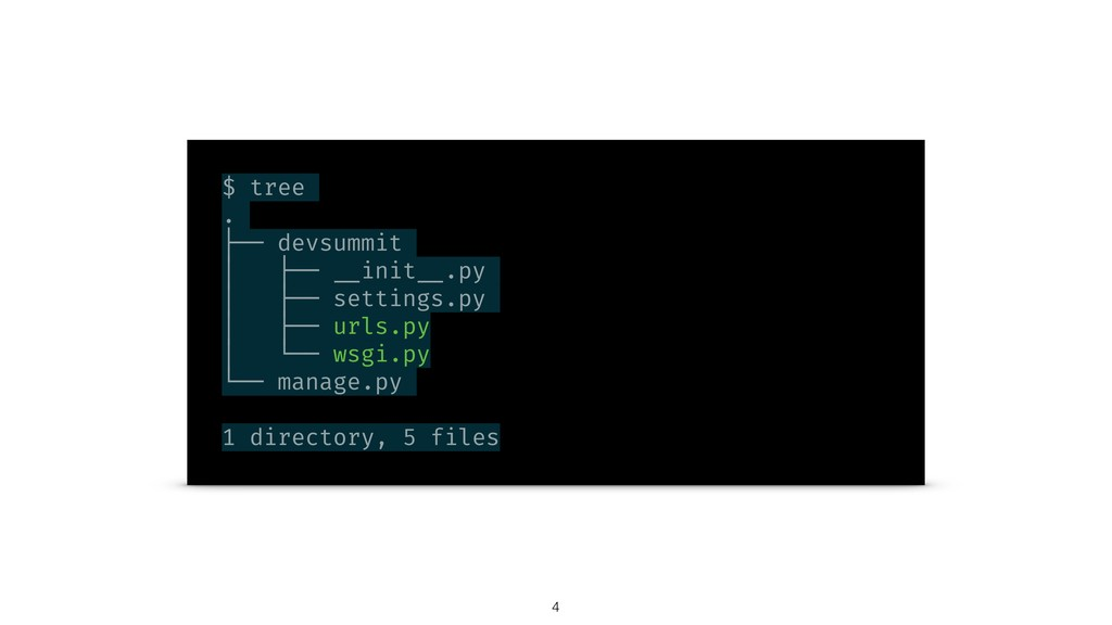 $ tree . ├── devsummit │ ├── __init __.py │ ├──...