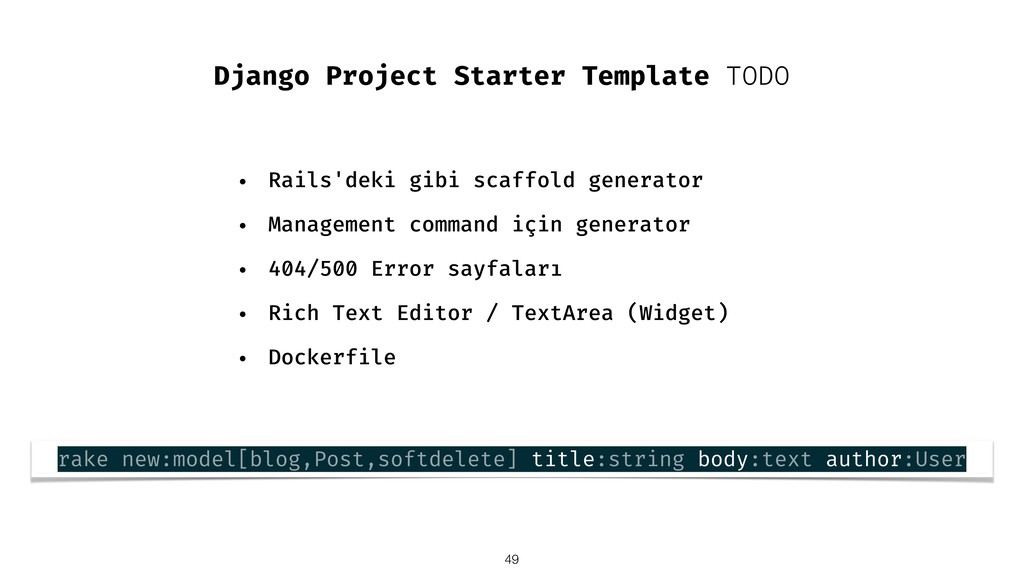 Django Project Starter Template TODO • Rails'de...