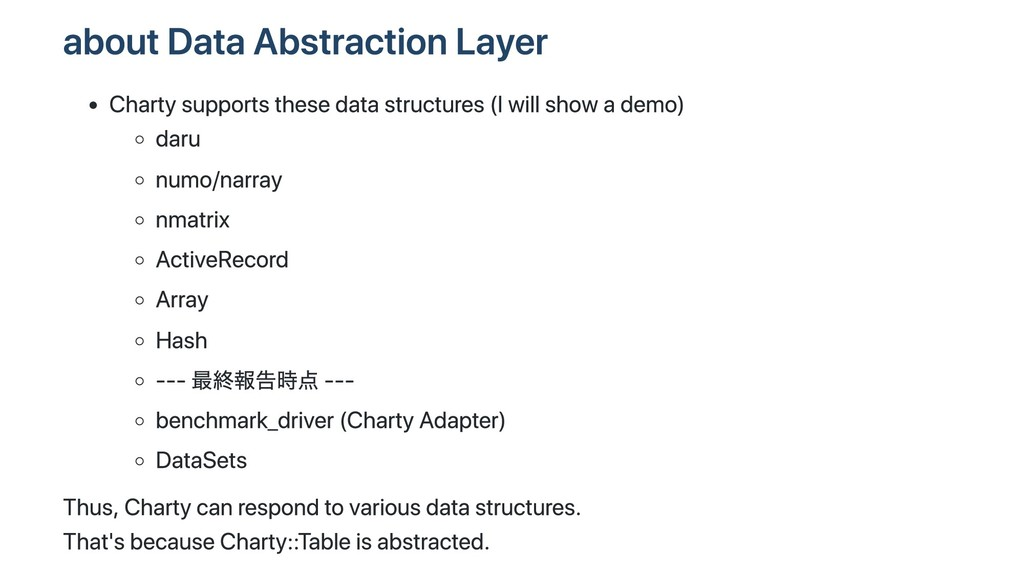 about Data Abstraction Layer Charty supports th...
