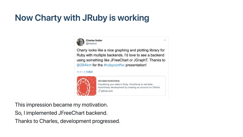 Now Charty with JRuby is working This impressio...