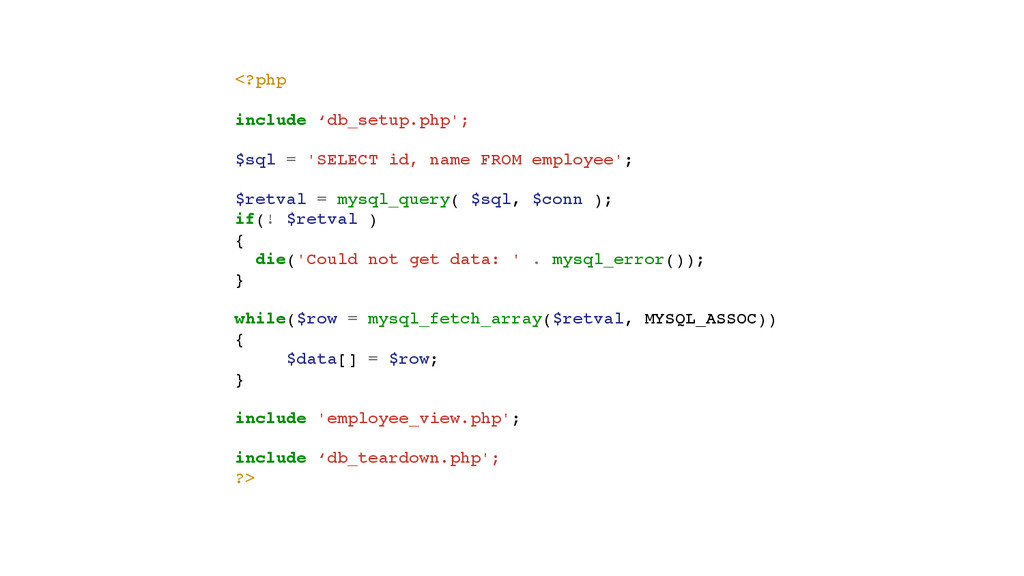 <?php! ! include 'db_setup.php';! ! $sql = 'SEL...