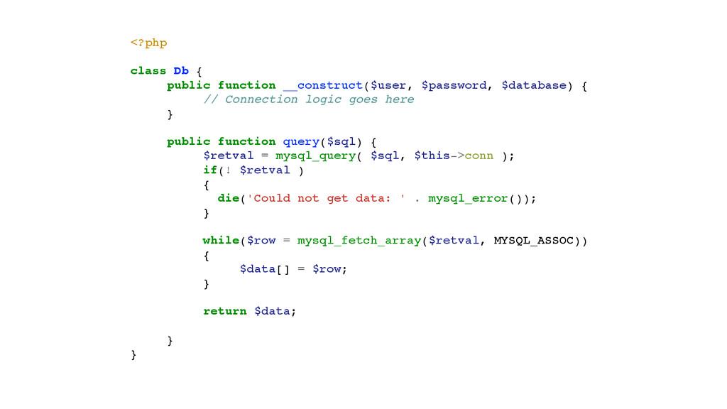 <?php! ! class Db {! ! public function __constr...