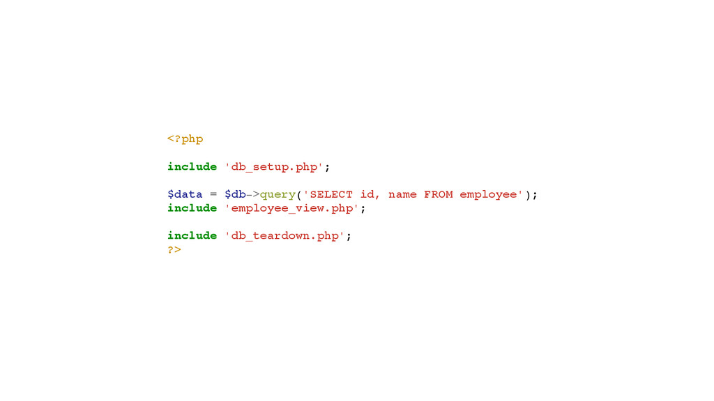 <?php! ! include 'db_setup.php';! ! $data = $db...