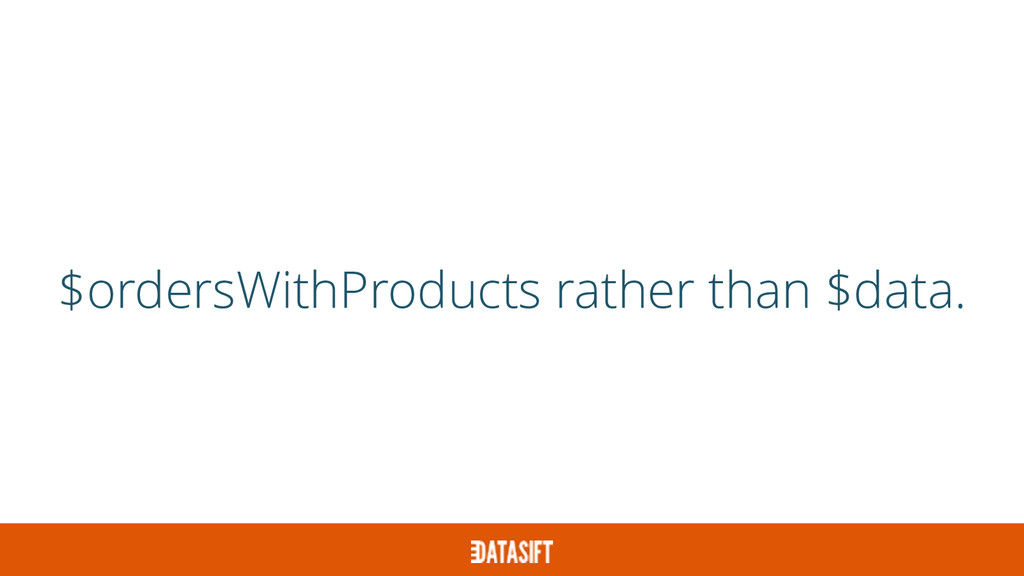 $ordersWithProducts rather than $data.