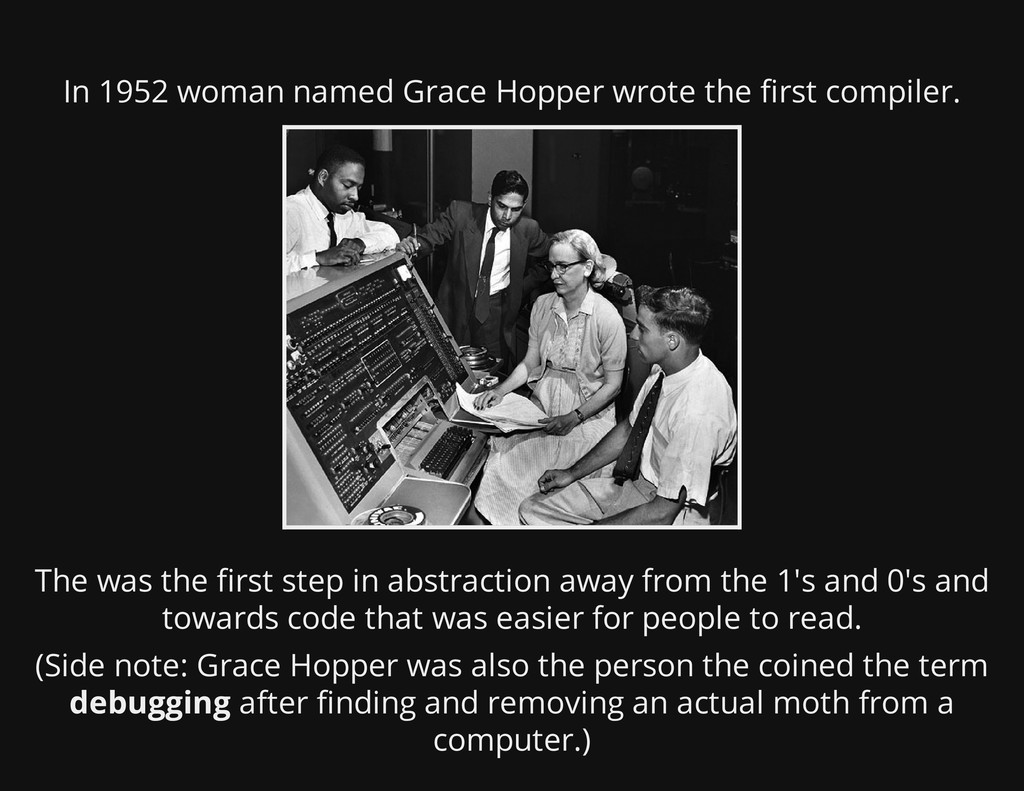 In 1952 woman named Grace Hopper wrote the firs...