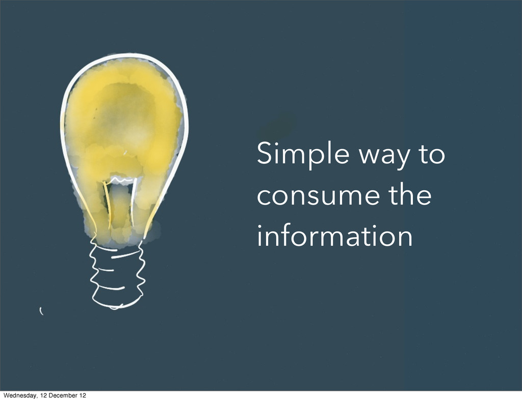 Simple way to consume the information Wednesday...