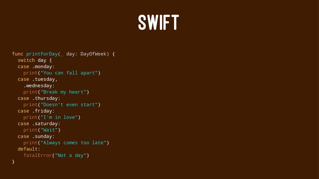 SWIFT func printForDay(_ day: DayOfWeek) { swit...