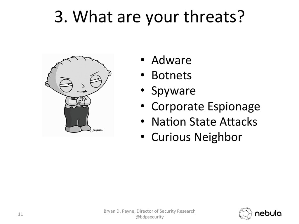 3. What are your threats?  11 ...