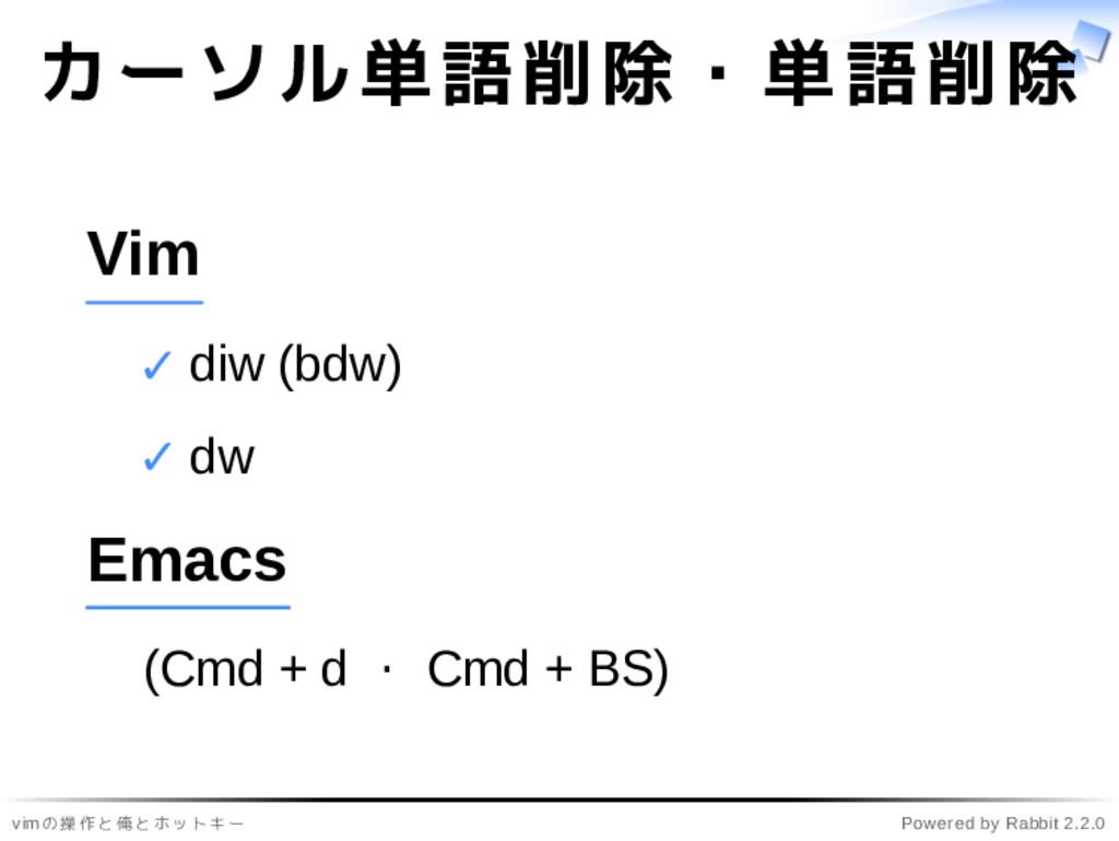 vimの操作と俺とホットキー Powered by Rabbit 2.2.0 カーソル単語削除...