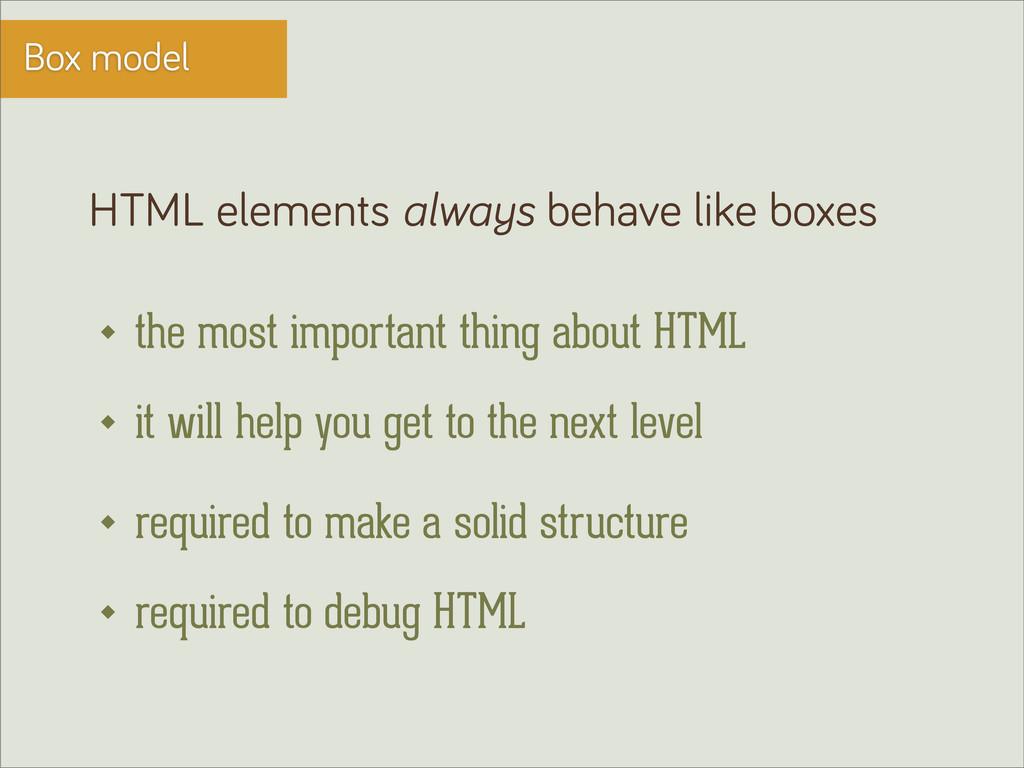 Box model HTML elements always behave like boxe...