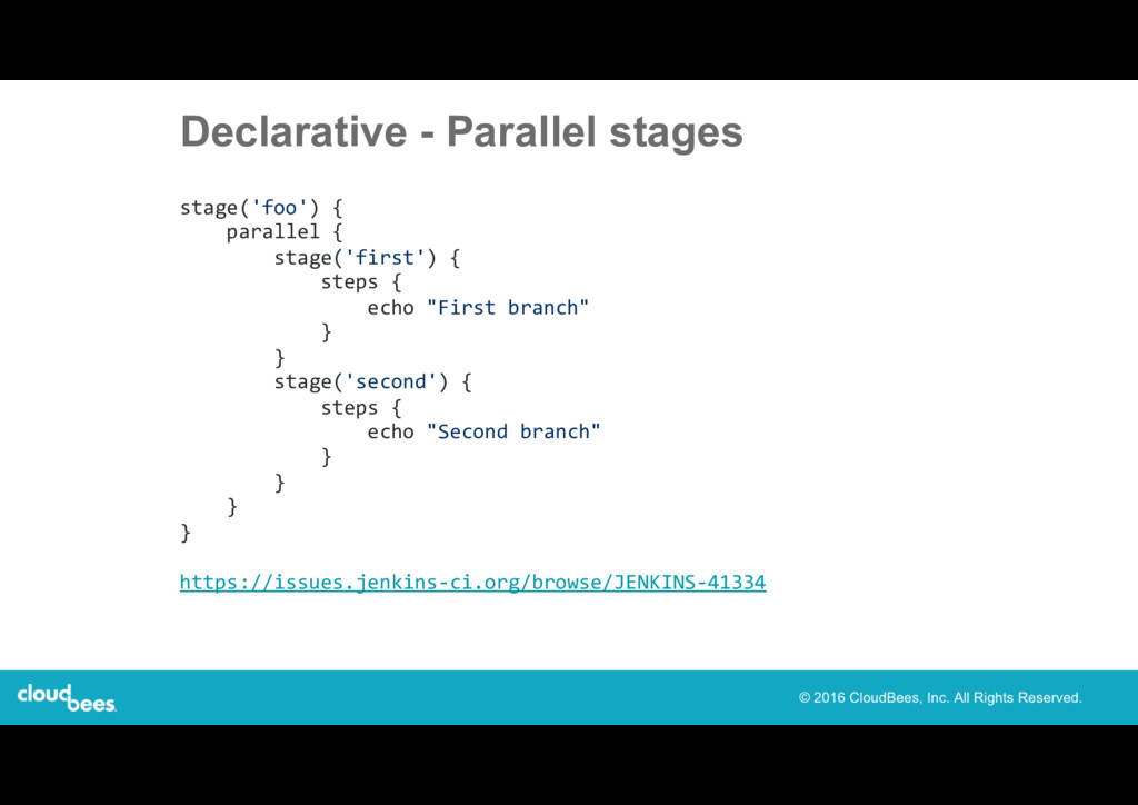 Declarative - Parallel stages stage('foo') { pa...