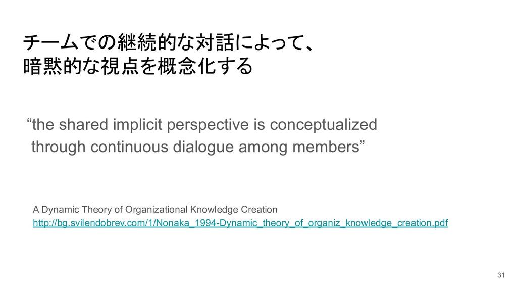 """チームでの継続的な対話によって、 暗黙的な視点を概念化する 31 """"the shared im..."""