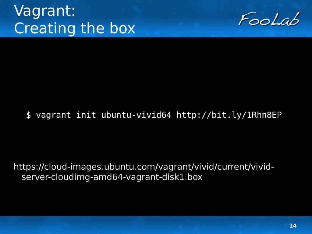 14 Vagrant: Creating the box https://cloud-imag...
