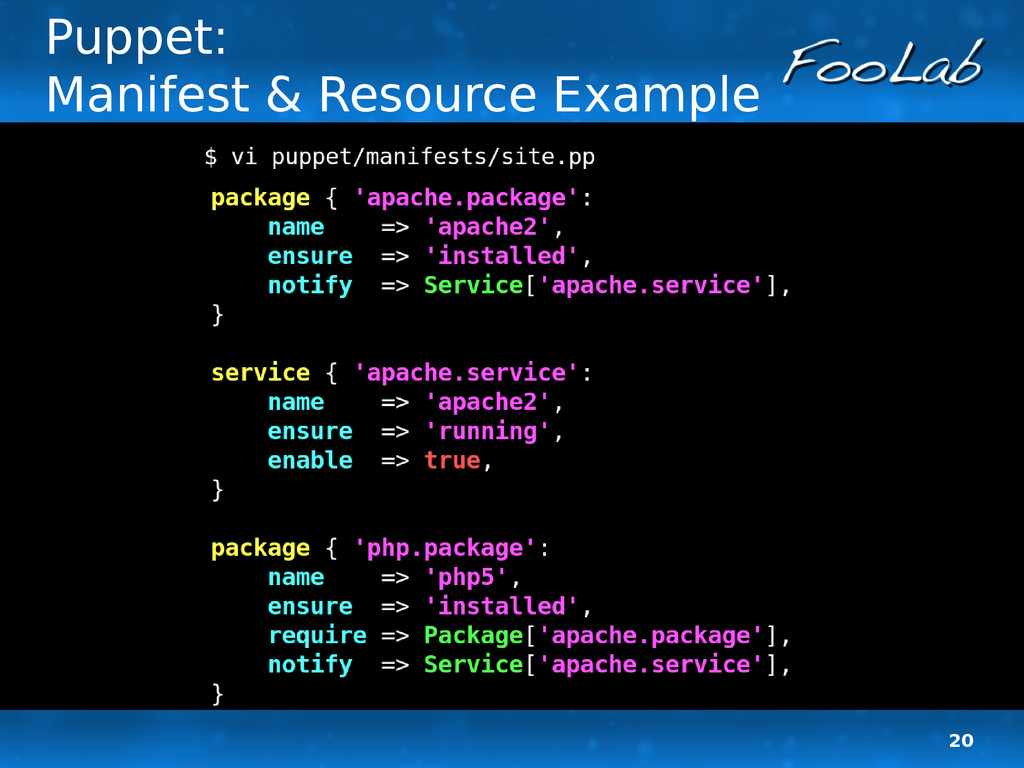 20 Puppet: Manifest & Resource Example