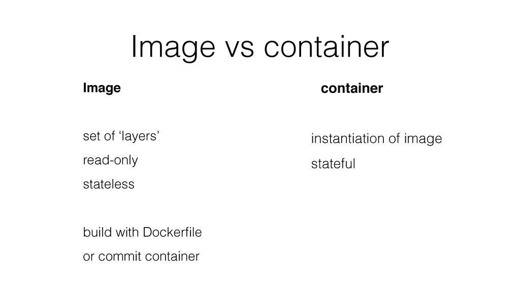 Image vs container Image set of 'layers' read-o...