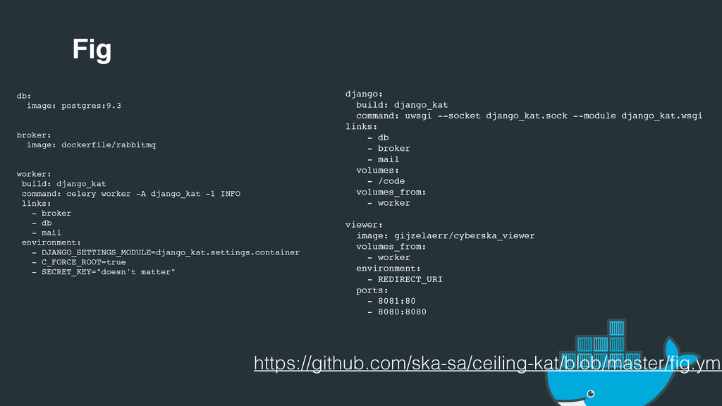 Fig db: image: postgres:9.3 broker: image: dock...