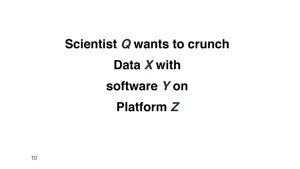 Scientist Q wants to crunch Data X with softwar...