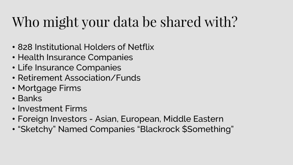 Who might your data be shared with? • 828 Insti...
