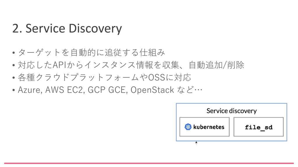 2. Service Discovery • ターゲットを自動的に追従する仕組み • 対応した...