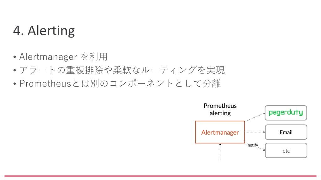 4. Alerting • Alertmanager を利用 • アラートの重複排除や柔軟なル...