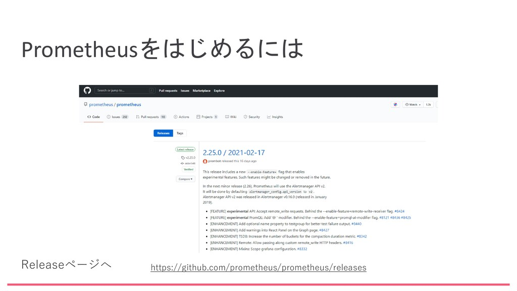 Prometheusをはじめるには https://github.com/prometheus...