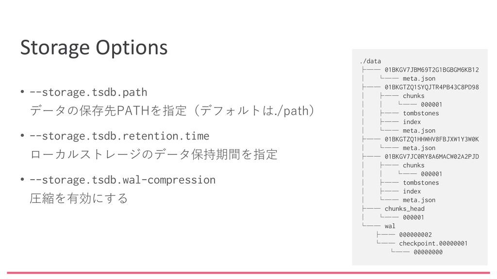 Storage Options • --storage.tsdb.path データの保存先PA...