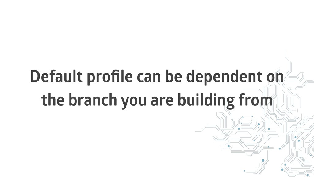 Default profile can be dependent on the branch y...