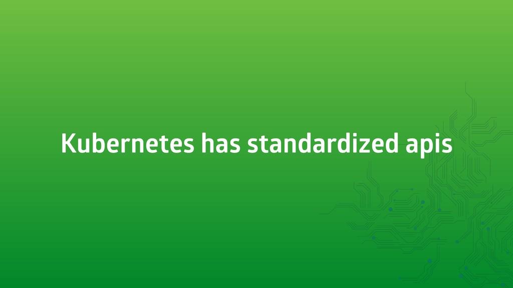 Kubernetes has standardized apis