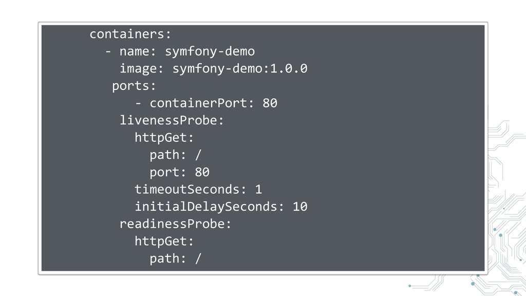 containers: - name: symfony-demo image: symfony...