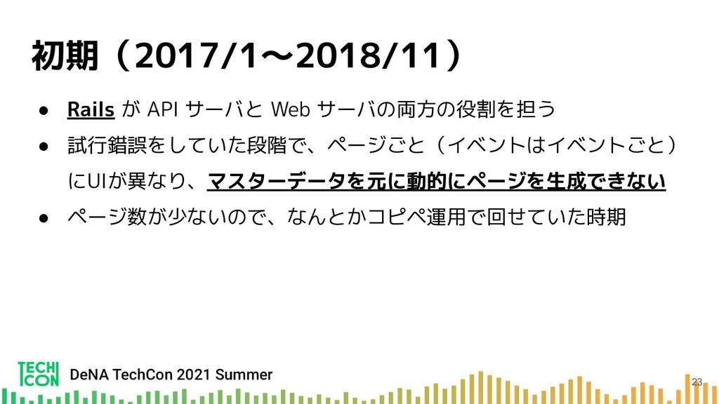 初期(2017/1〜2018/11) ● Rails が API サーバと Web サーバの両...