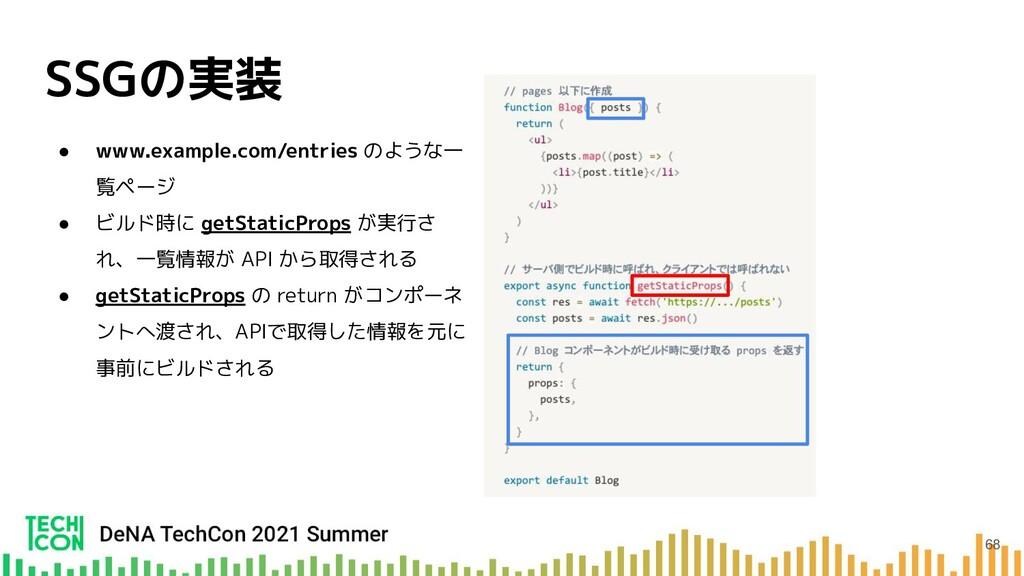 SSGの実装 ● www.example.com/entries のような一 覧ページ ● ビ...