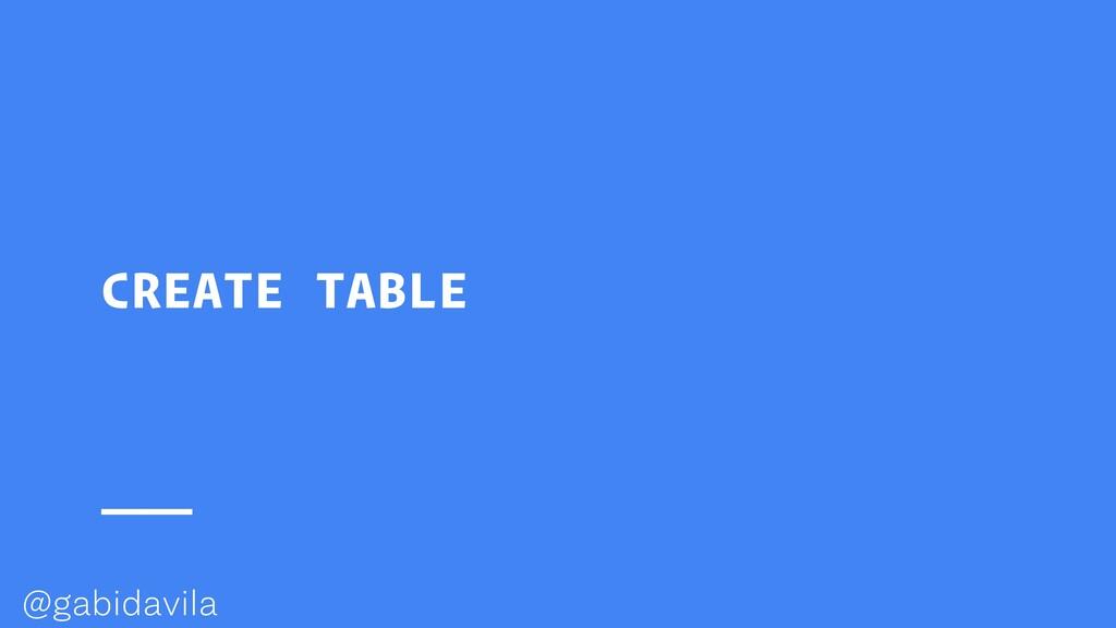 @gabidavila CREATE TABLE