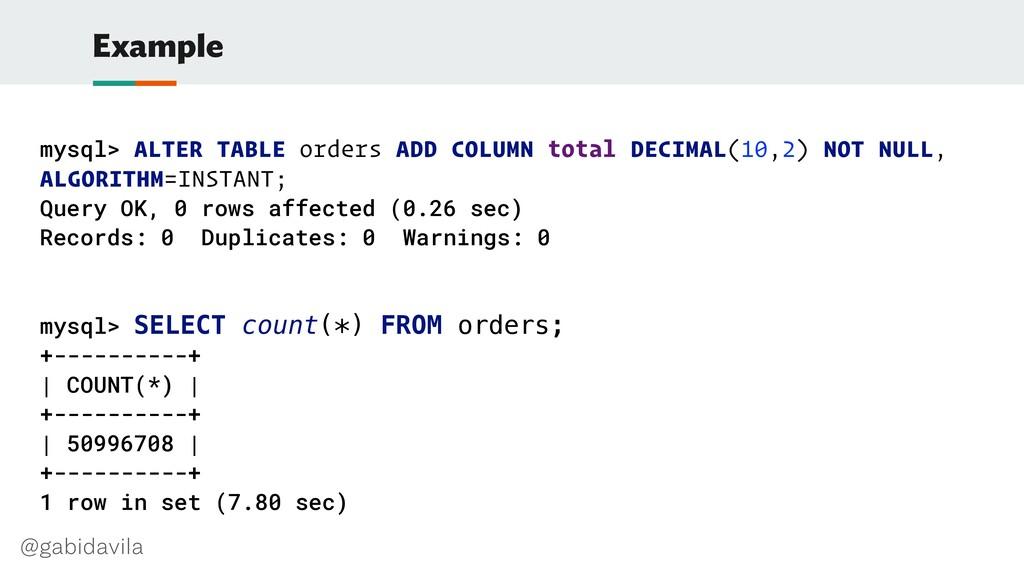 @gabidavila Example mysql> ALTER TABLE orders A...