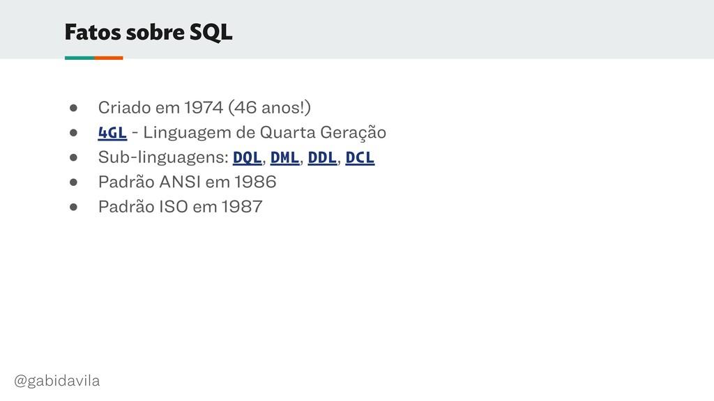 @gabidavila Fatos sobre SQL ● Criado em 1974 (4...