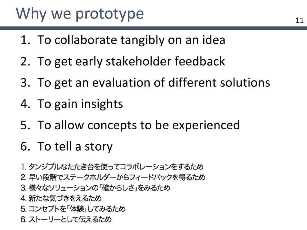 11 Why we prototype 1. To collaborate tangibly ...
