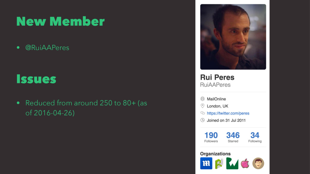 New Member • @RuiAAPeres Issues • Reduced from ...