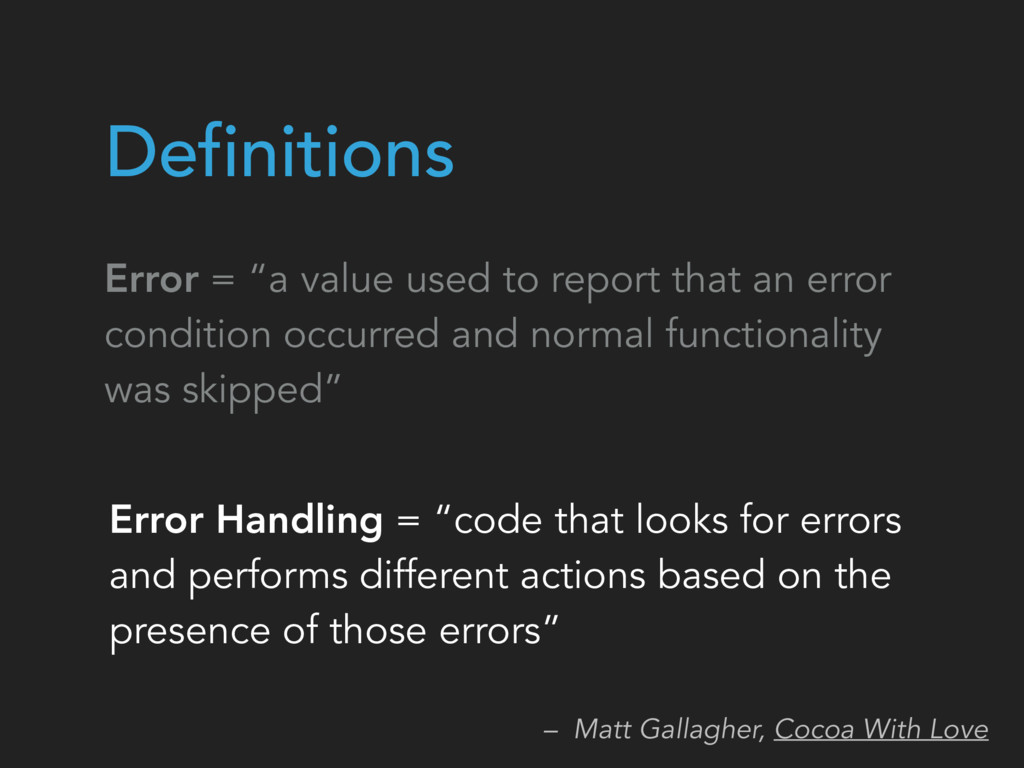 "Error Handling = ""code that looks for errors an..."