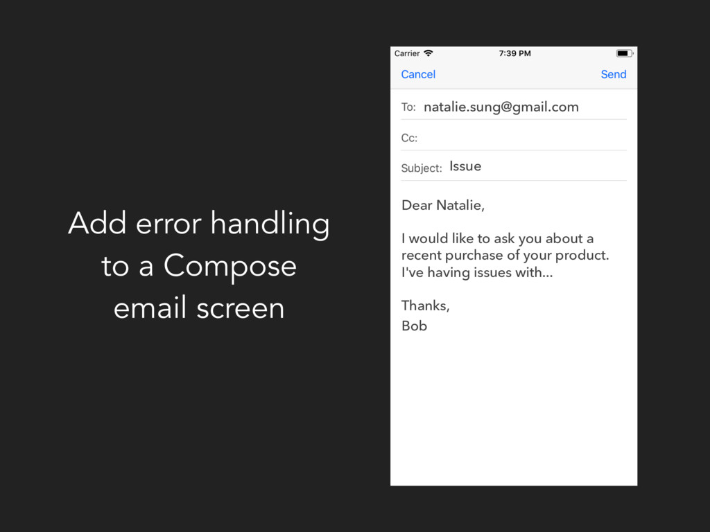 Add error handling to a Compose email screen na...