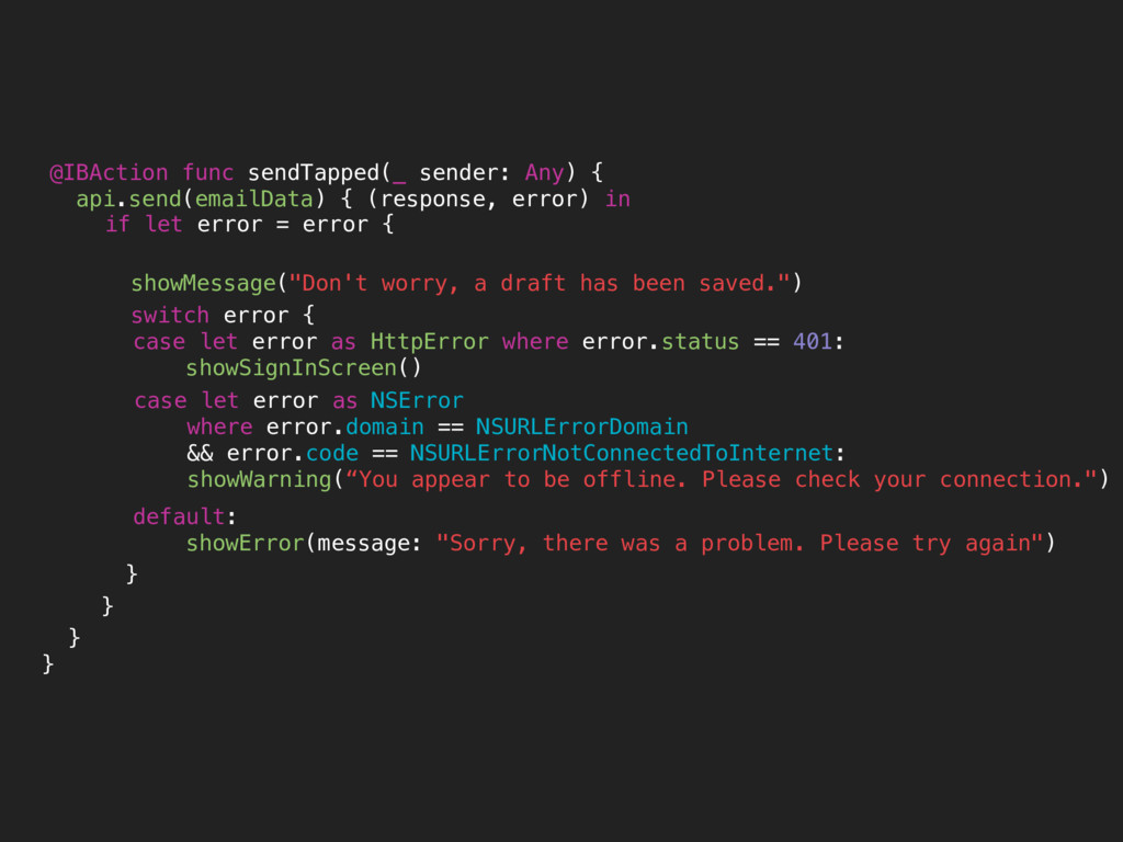 @IBAction func sendTapped(_ sender: Any) { api....