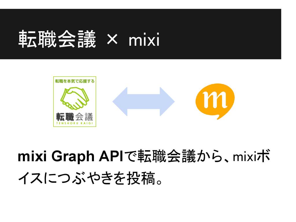 転職会議 × mixi mixi Graph APIで転職会議から、mixiボ イスにつぶやき...