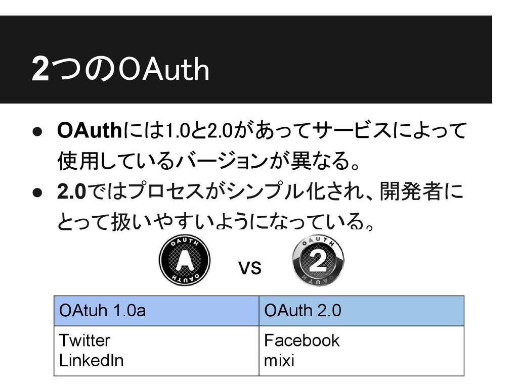 2つのOAuth ● OAuthには1.0と2.0があってサービスによって 使用しているバージ...