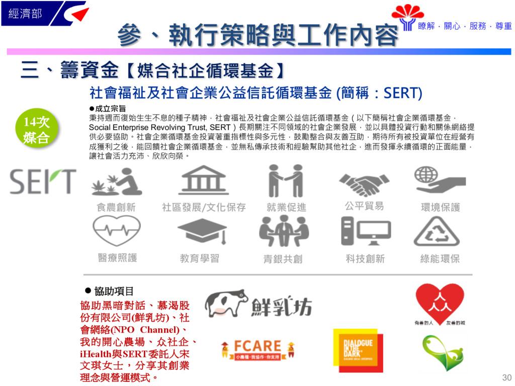 經濟部 瞭解.關心.服務.尊重 社會福祉及社會企業公益信託循環基金 (簡稱:SERT) l成立...