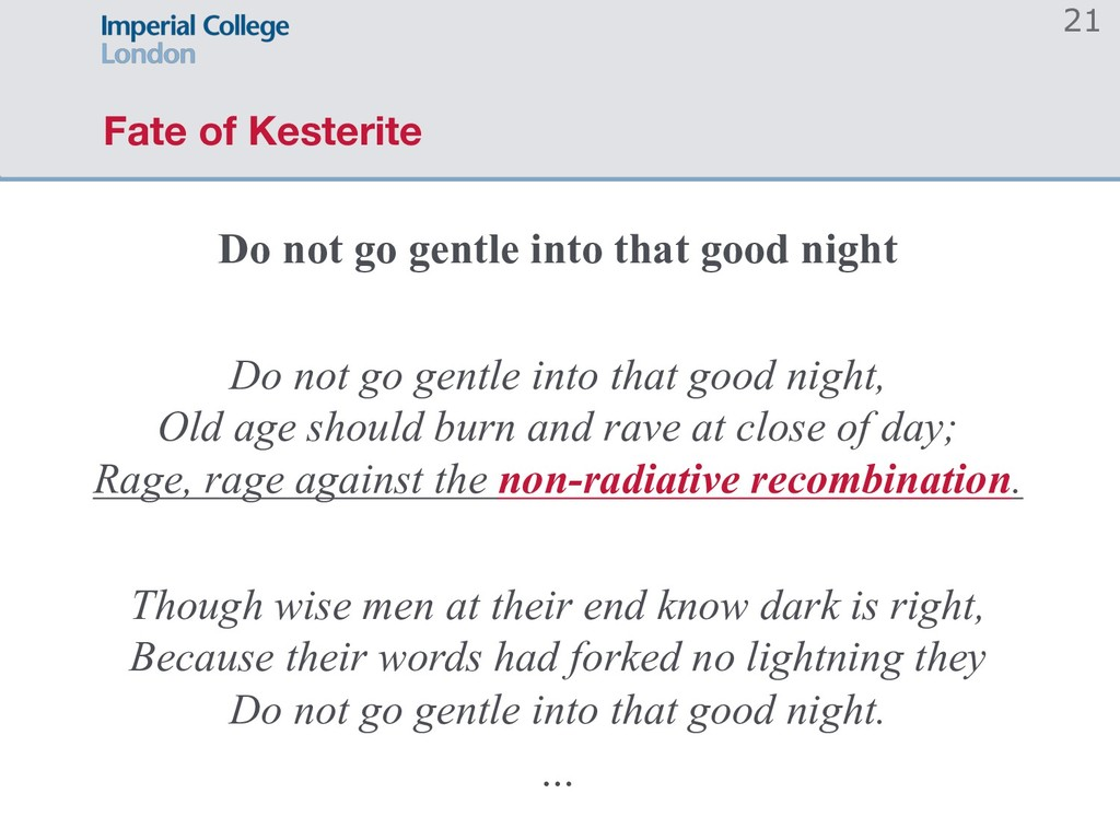 Fate of Kesterite Do not go gentle into that go...